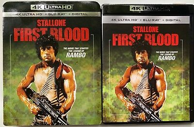 Rambo First Blood 4K Ultra Hd Blu Ray 2 Disc Set + Slipcover Sleeve Sly Stallone