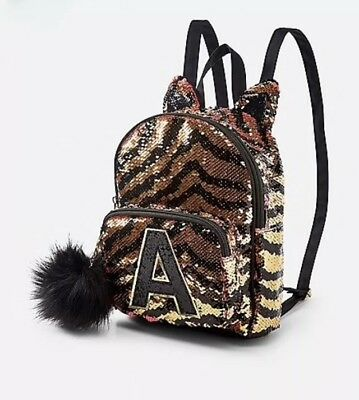 """NWT Justice Girls Tiger Initial """"A"""" Flip Sequin MINI  Backpack! 🐯🐯🐯"""