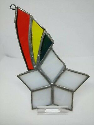 Stained Glass Shooting Star White Hanger Sun Catcher Pewter Metal?