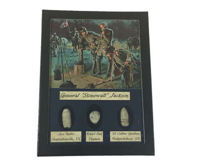 General Stonewall Jackson Civil War Bullet Set with Glass Top Display Case