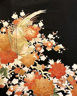 Incredible Japanese Kimono Embroidered With Golden Pheasant Blossom Detail