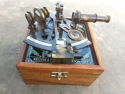 Antique Brass Collectible Nautical Working German Marine Sextant w/ Wooden Box