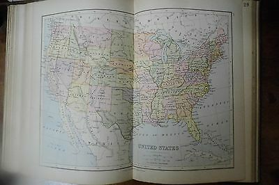 Victorian 1879 antique 38 maps Students atlas Bartholomew Collins 19th century