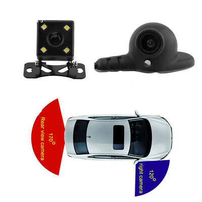 12V HD Dual Lens Car Parking Cam Kit Rear+Right View Camera w/ Automatic Switch