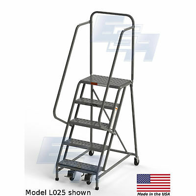 "EGA L007 Steel Industrial Rolling Ladder 5-Step, 16"" Wide Perforated, Gray, 450"