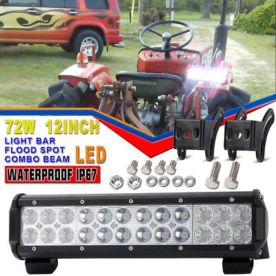 12inch 72W CREE LED Light Bar Spot Flood Offroad Work Driving Lamp 4WD Reverse