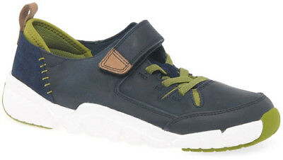 d3ec89036fd Clarks TRI DASH NAVY Boys Leather Trigenic Shoes Trainers 11- 13FG Fit NEW  BOXED