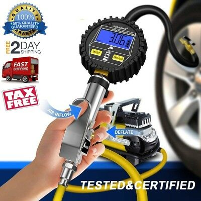 Digital Tire Inflator With Pressure Gauge 250 PSI Resolution Dual Air Chuck