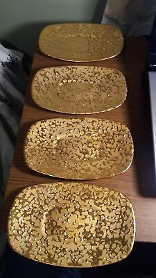 RARE Mid Century Vintage 22kt Weeping Gold set of 4 rectangular snack plates dis