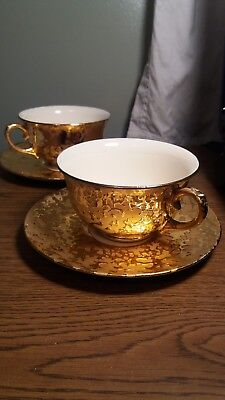 RARE Mid Century Vintage 22kt weeping gold hand decorated pair of cups & saucers