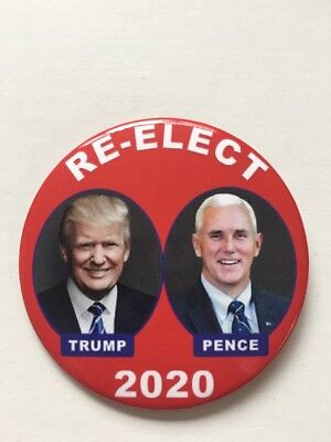"2020 Re-Elect President Donald Trump 3"" Button Vice President Mike Pence Pin"