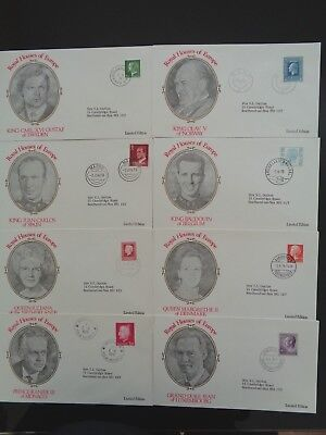 1978 ROYAL HOUSES OF EUROPE 8 x DIFFERENT STAMPED COVERS LTD EDITION