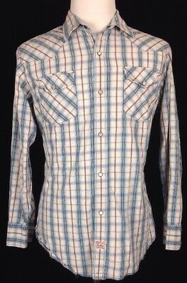 Vintage Levi Strauss Check Plaid Long Sleeve Pearl Snap Button Shirt Mens Large