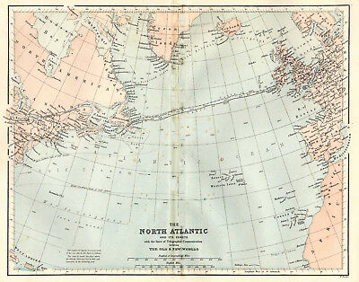 An enlarged map of The North Atlantic with telegraph line, original  dated 1860.