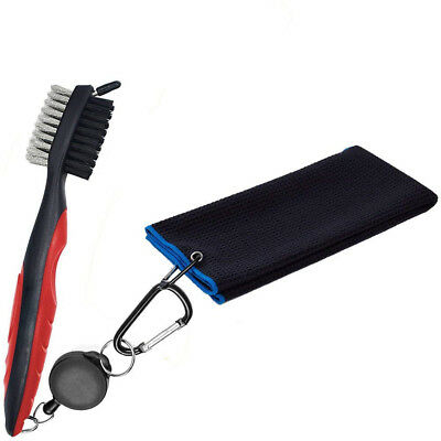 (Black+red brush) - Favport Microfiber Golf and Club Towel 41cm x 60cm with