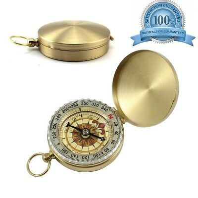 Pocket Watch Style Compass Military Navigation Tool Clamshell Compass Brass
