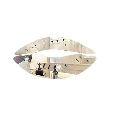 (Silver) - YanHoo Removable Lips Mirror Wall Stickers Decal Art PVC Home Room