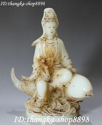 "11"" Chinese Old Jade Carving Kwan-yin Guanyin Goddess Ride Fish Hold Ruyi Statue"