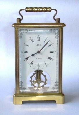 August Schatz Brass Skeleton 8 Day Carriage Clock in Working Order