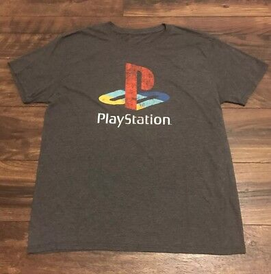 Vintage Playstation Heathered Gray Classic Logo Game Console T-Shirt Sz M