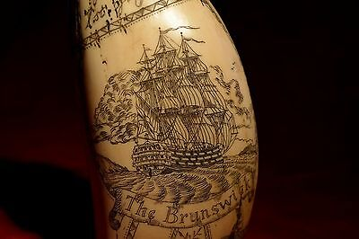"""Gr8..scrimshaw.  """"The Brunswick""""  and Admiral """"Howe""""  museum Quality!  exquisite"""