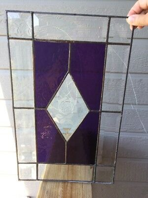 "Vintage Stained Glass Window Panel Hanging, signed Teasdale 93, 16"" X 10"""