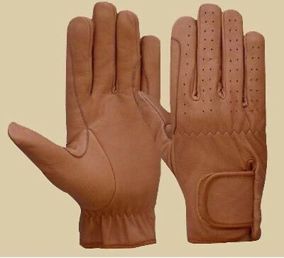 Equestrian Gloves Mens 100%  Real Leather TAN,DARK BROWN & BLACK Premium Quality