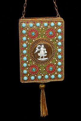 Magnificent Antique FRENCH 1800s JEWELED Cameo Enameled CHATELAINE COMPACT PURSE