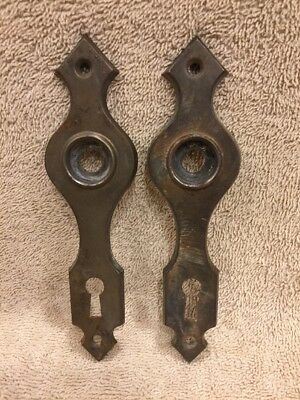 Vintage Pr Chippy Stamped Steel Classic Door Knob Back Plates Escutcheons