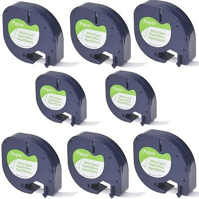 8PK Black on White Paper Tape Label 91330 for DYMO Letra Tag LT-100H 100T QX50