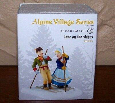 """NEW DEPT 56 Alpine Village """"LOVE ON THE SLOPES"""" Christmas Accessory 4050905"""