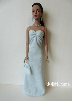 "TYLER Clothes Tonner 16"" handmade blue GOWN + PURSE +JEWELRY Fashion NO DOLL d4e"