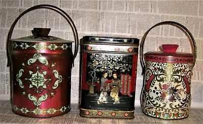 Antique Tin Canisters Litho Metal English Asian Tea Box Candy Containers 3 Tole