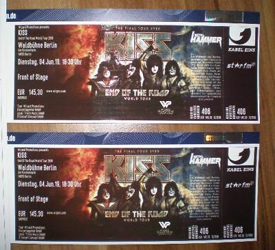 2 x KISS TICKETS FRONT OF STAGE BERLIN WALDBÜHNE 04.06.2019