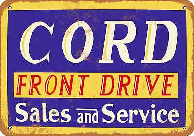 """7"""" x 10"""" Metal Sign - Cord Sales and Service - Vintage Look Repro"""