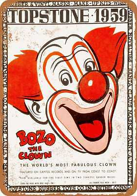 """7"""" x 10"""" Metal Sign - 1959 Bozo the Clown - Vintage Look Repro"""