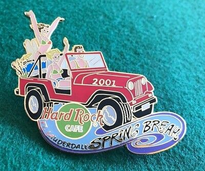 HARD ROCK CAFE FORT LAUDERDALE 2001 SPRING BREAK PIN Red Party Jeep