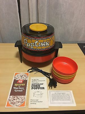 Vintage Popcorn Popper Stand With Serving Bowls Box Inserts Butter Cup Corn