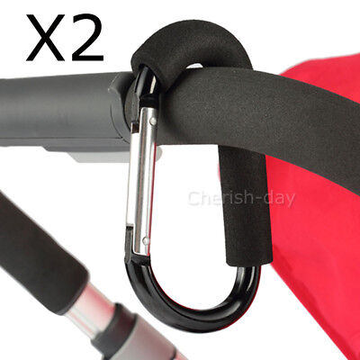 2pcs PRAM HOOK Baby Stroller Shopping Bag Clip Carrier Carabiner Large Hangers Z