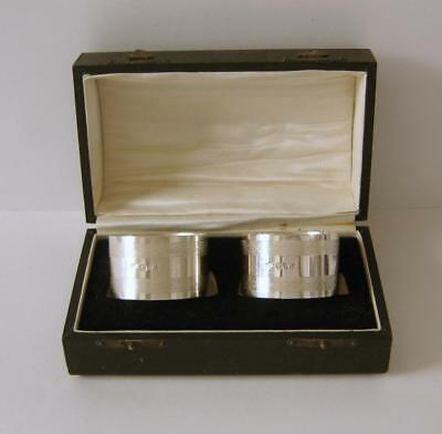 A Cased Pair Of Sterling Silver Napkin Rings Chester 1928 Colen Hewer Cheshire