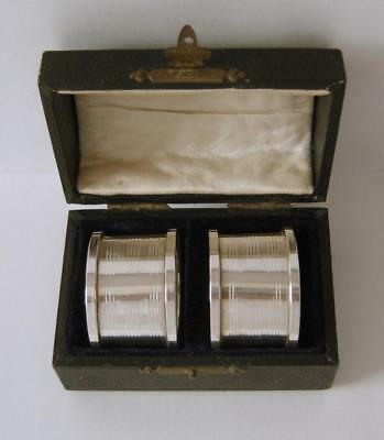 A Cased Pair Of Sterling Silver Napkin Rings Birmingham 1922 Clifford Brothers