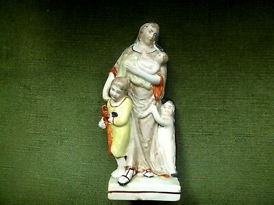 RARE ANTIQUE GEORGIAN PEARLWARE FIGURE OF CHARITY CARING FOR 3 CHILDREN c1800