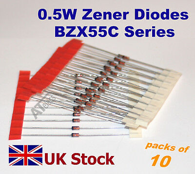 0.5W Zener Diodes  BZX55C Series   500mW BZX55 DO-35 , Many Values   - UK Stock