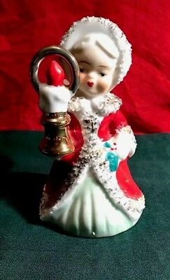 Vintage Lefton Christmas Girl Angel Holding A Candle Bell