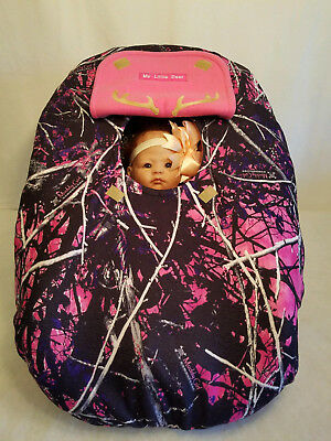 Infant Car Seat Canopy Cover Muddy Girl Fleece Camo Baby Lining Embrodery