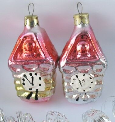 Set 2 CUCKOO-CLOCK Vintage Glass Xmas Decor Ornament Russian Christmas USSR Toy