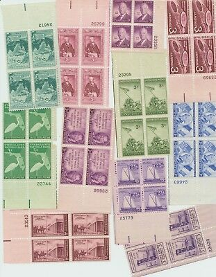 Plate Blocks Mint 3 Cent Us Postage Stamps 12 Diff  Commemorative Blocks Of 4 Nh