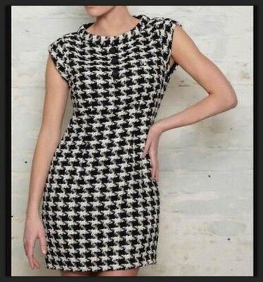 Fred Perry Amy Winehouse  UK 16 Fantastic Houndstooth Tie Neck MOD Dress