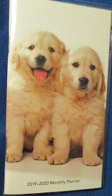 2019-2020 POCKET Purse 6.5X3.5 MONTHLY PLANNER 2-Year - TAN LAB PUPPIES DOGs