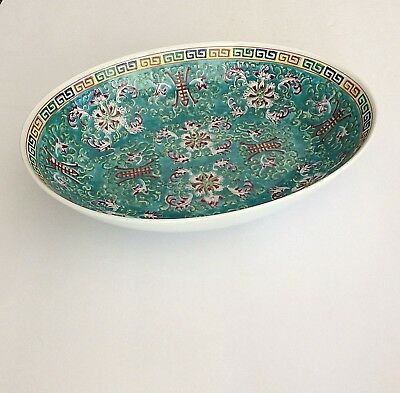 Vtg Chinese Chinoiserie Bowl Hand Painted Enamel Shallow Oval Turquoise Blue